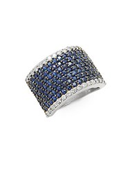 Effy Diamond Sapphire And 14K White Gold Ring