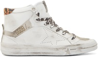 Golden Goose White And Leopard Print Special Edition High Top 2.12 Sneakers