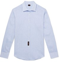 Massimo Piombo Mp Slim Fit Slub Linen Shirt Blue