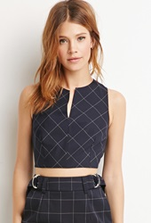 Forever 21 Plaid V Cut Crop Top Navy Grey
