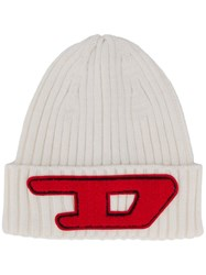 Diesel Logo Patch Beanie White
