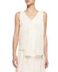 Band Of Outsiders Swing V Neck Tank W Faint Print Ivory