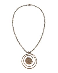 Bavna Agate And Champagne Diamond Beaded Pendant Necklace