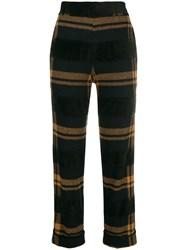 D.Exterior Striped Cropped Trousers Black