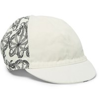 Cafe Du Cycliste Printed Canvas Cycling Cap White