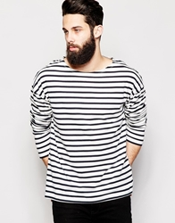 Asos Oversized Striped Long Sleeve T Shirt With Boat Neck Offwhitenavy