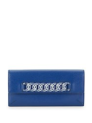 Charlotte Olympia Chain Link Leather Wallet Navy