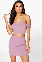 Boohoo Off The Shoulder Top And Mini Skirt Co Ord Set Mauve