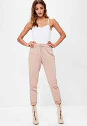 Missguided Pink Washed Turn Up Cuff Joggers