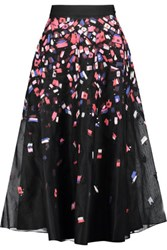 Noir Sachin And Babi Mirna Embroidered Tulle Silk Organza Midi Skirt Black
