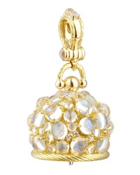 18K Moonstone Diamond Meditation Bell Pendant 20Mm Paul Morelli