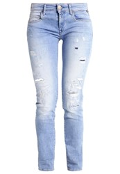 Replay Rose Slim Fit Jeans Destroyed Denim Blue Denim