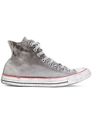 Converse Faded Hi Top Sneakers Polyester Canvas Rubber 8.5 Grey