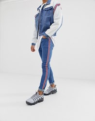 Liquor N Poker Skinny Jeans With Sports Stripes Blue