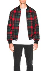 Opening Ceremony Plaid Varsity Jacket In Red Checkered And Plaid Red Checkered And Plaid