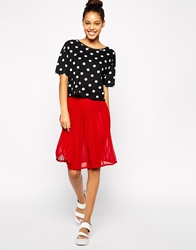 American Apparel Chiffon Pleated Skirt Red