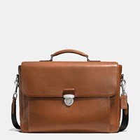 Coach Metropolitan Briefcase In Sport Calf Leather Silver Dark Saddle