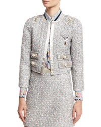 Marc Jacobs Embellished Tweed Jacket White Multi