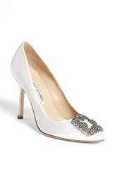 Women's Manolo Blahnik 'Hangisi' Jeweled Pump White