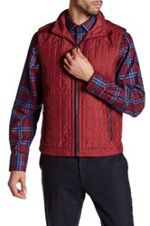 Bugatchi Quilted Stowable Hood Vest Red
