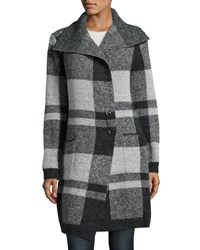 Neiman Marcus Plaid Shawl Collar Cardigan Charcoal