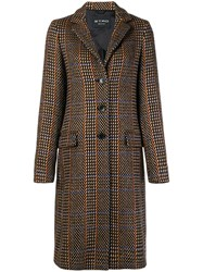 Etro Patterned Single Breasted Coat Brown