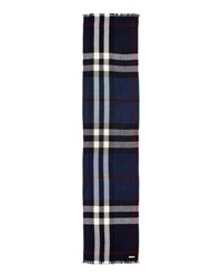 Burberry Men's Wool Cashmere Tricolor Check Lightweight Scarf Navy