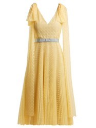 Luisa Beccaria Polka Dot Jacquard Pleated Gown Yellow