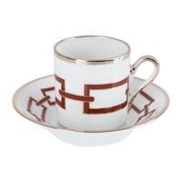 Richard Ginori 1735 Catene Scarlatto Coffee Cup And Saucer