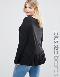 Junarose Frill Hem Long Sleeve Jersey Top Black