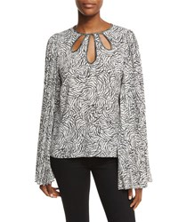 Andrew Gn Keyhole Knife Pleated Long Sleeve Blouse Black Pattern