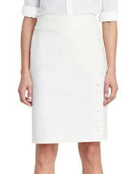 Lauren Ralph Lauren Buttoned Pencil Skirt Ivory