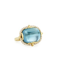 Rock N Roll 18K Yellow Gold London Blue Topaz Cabochon Ring Goshwara