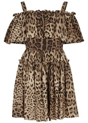 Dolce And Gabbana Leopard Print Cotton Mini Dress
