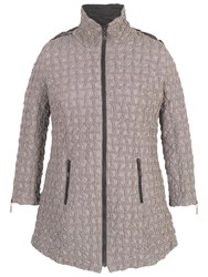 Chesca Hooded Mini Bonfire Quilted Coat Pebble