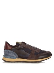 Valentino Rockrunner Leather And Suede Low Top Trainers Navy Multi
