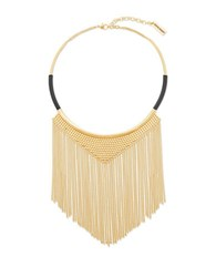 Steve Madden Textured Center Triangle And Curb Chain Fringe Necklace Gold