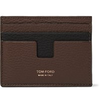 Tom Ford Two Tone Full Grain Leather Cardholder Army Green