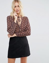 Goldie Still The One Printed Blouse With Neck Tie Blue