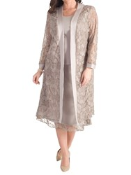 Chesca Embroidered Lace Coat Mink