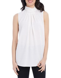 Ellen Tracy Sleeveless Solid Top White