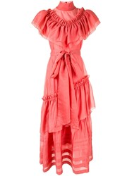 Anna October Ruffle Maxi Dress Pink