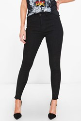 Boohoo Petite Eve High Rise Embroidered Hem Skinny Jean Black