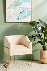 Anthropologie Wool Diamond Caddell Dining Chair Ivory