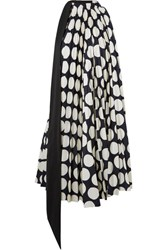 A.W.A.K.E. Back To Front Reversible Pleated Polka Dot Crepe Dress Navy