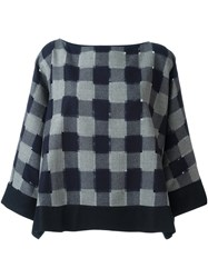 Giorgio Armani Checked Wide Fit Jumper Blue