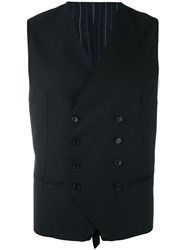 Tagliatore Classic Tailored Waistcoat Men Cupro Virgin Wool 52 Black