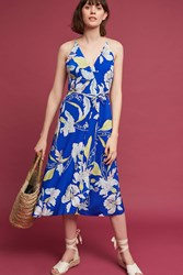 Anthropologie Zooey Silk Midi Dress Sapphire