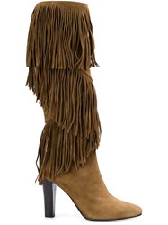 Saint Laurent 'Lily' Fringe Boots Brown