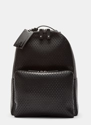 Valentino Perforated Grained Leather Backpack Black